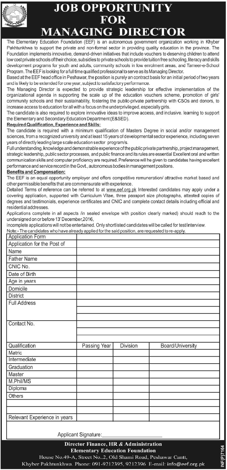 The Elementary Education Foundation Peshawar Jobs