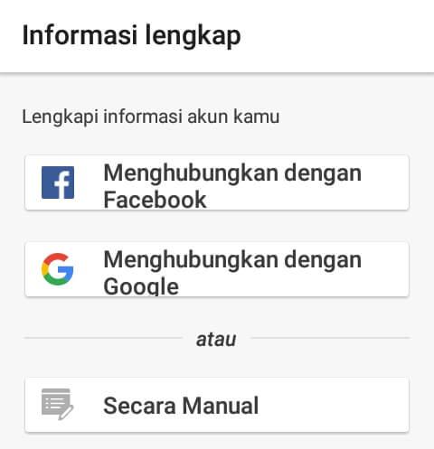 setelah mendaftarkan nomor handphone dan melakukan verifikasi, maka Anda disuruh untuk melakukan Masuk/Login menggunakan akun sosmed seperti Google dan Facebook. Atau Anda bisa juga melakukan pendaftaran melalui Email. Silahkan tentukan metode Login yang Anda inginkan dan ikuti petunjuk yang ada.