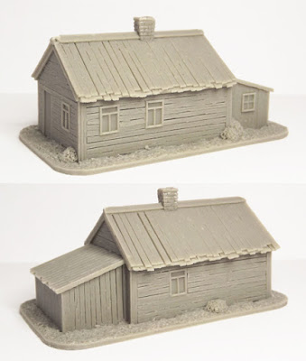SCN-EF03  Russian house with lean-to (Size: 85x50mm)