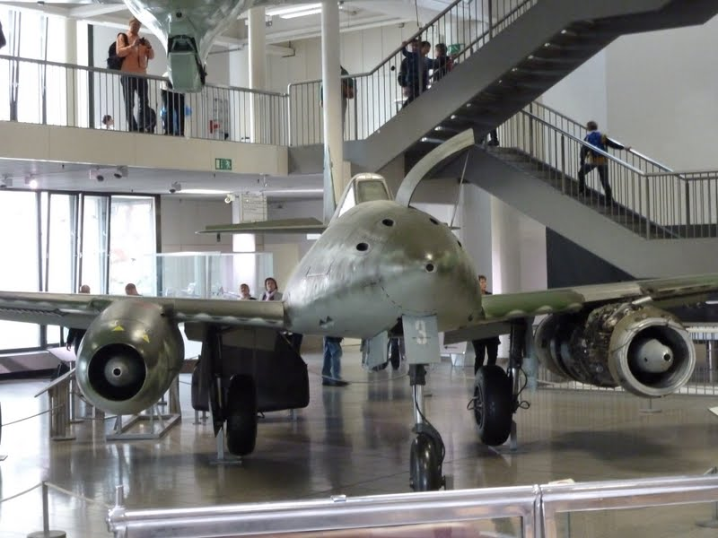 View of the front of the Messerschmitt Me262 on display at Deutsches Museum Munich, Germany