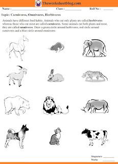 Carnivores,Herbivores,Omnivores worksheet.