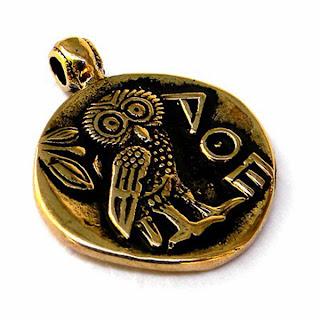 купить латунный кулон сова тетрадрахма монета