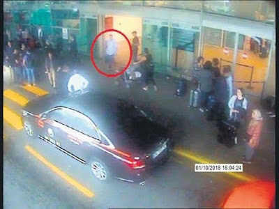 "A screen capture from Turkish CCTV showing Al-Mozanini after his return from Riyadh on 1 October ""Sabah Daily"""