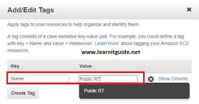 aws route table modify tag
