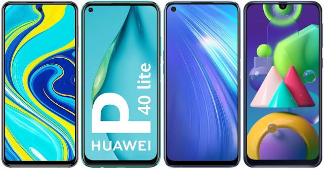 Xiaomi Redmi Note 9S vs Huawei P40 Lite vs Realme 6 vs Samsung Galaxy M21