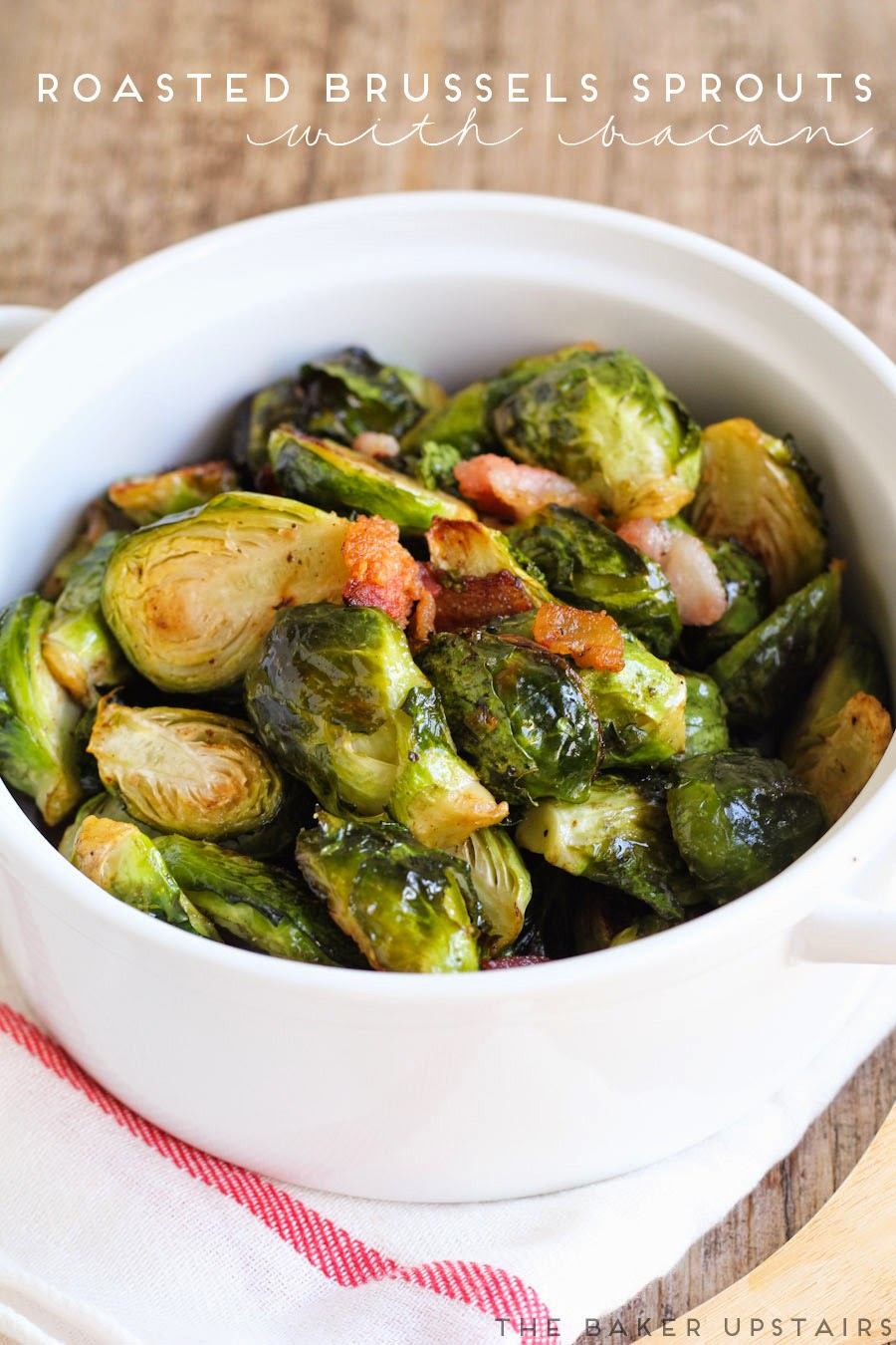 Roasted brussels sprouts with bacon - so deliciously flavorful and quick and easy to make!