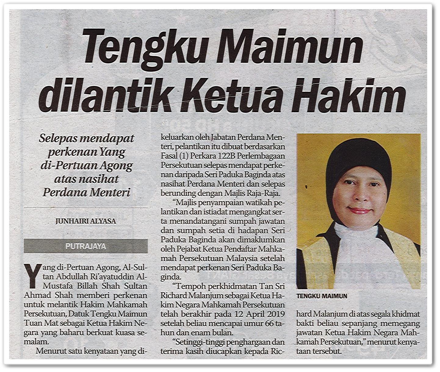 Tengku Maimun dilantik Ketua Hakim - Keratan akhbar Sinar Harian 3 Mei 2019