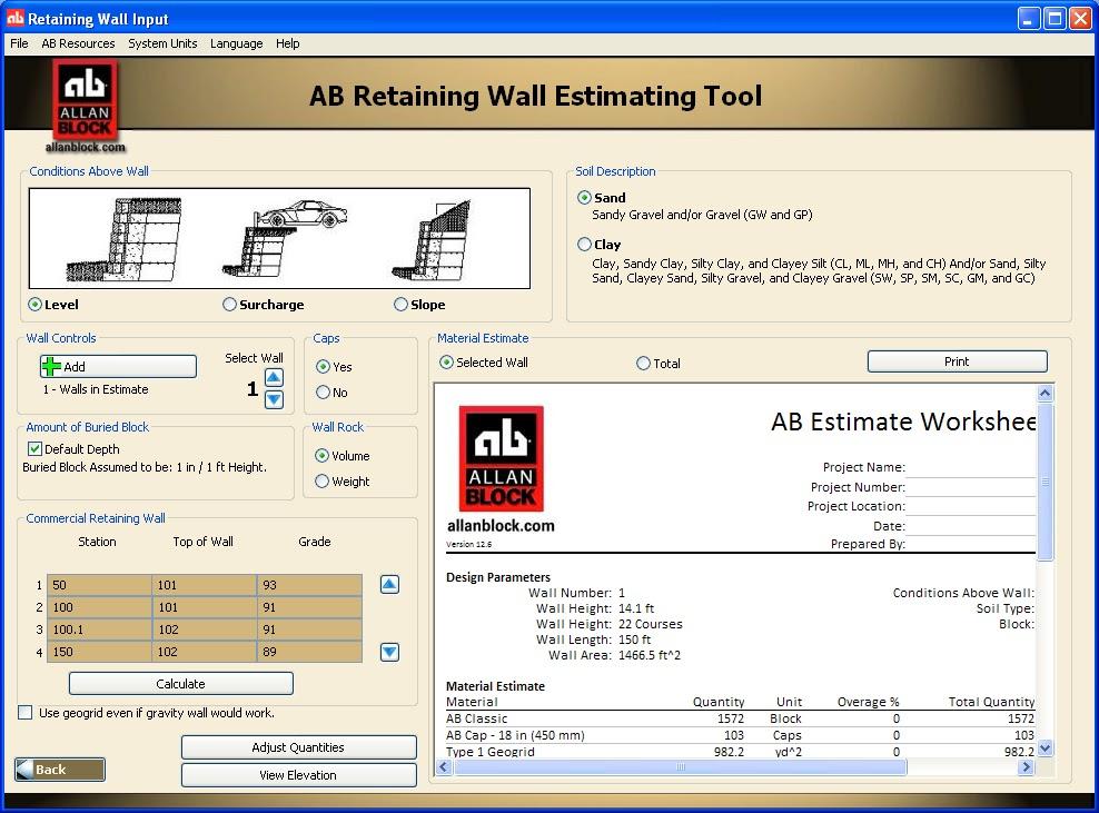 Site Balance & Design: Project Estimating: Retaining Walls