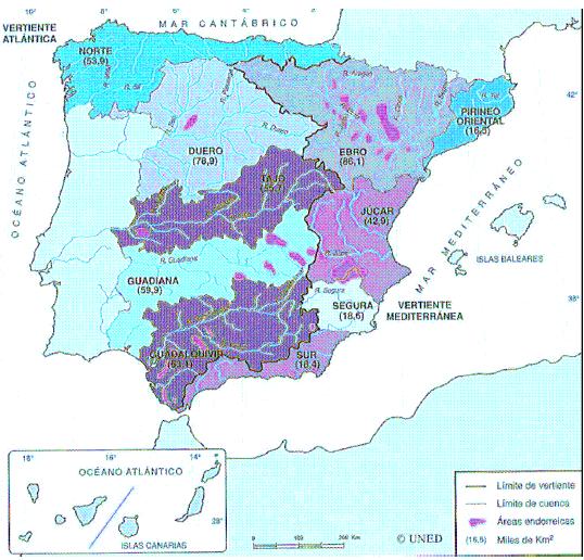 Vertientes Mapa Hidrografico De España.Practicas Hidrografia 2º Bachillerato Geografia