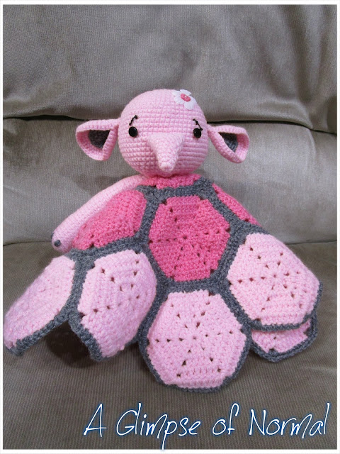 This crochet order was a lot of fun to work on.  This cute elephant lovey will make a great gift.  See more at A Glimpse of Normal.