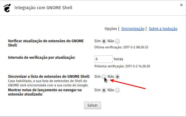 Opções do Gnome Shell Extension