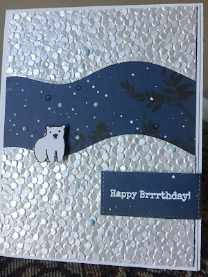Freshwater Pearls specialty paper by Craft Perfect. Arctic Pals stamp set from Ellen Hutson. Nuvo drops.