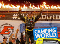 Matt Crafton (#88-) won the Dirt Derby 150 at Eldora Speedway in 2017 after he took the lead with just sixteen laps remaining following a restart.