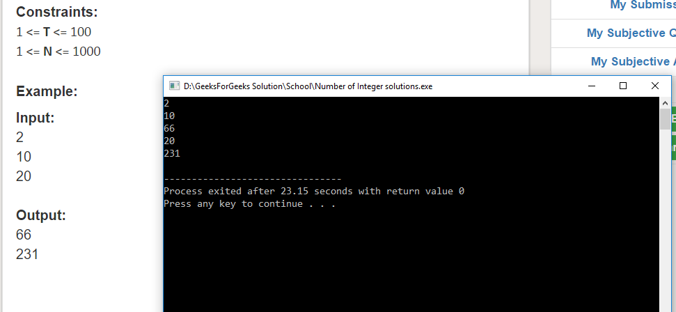 "Geeksforgeeks Solution For "" Number of Integer solutions """