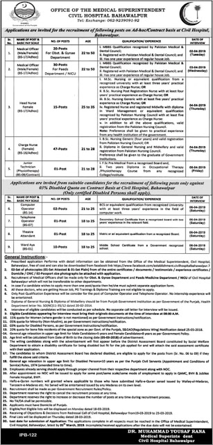 Civil Hospital Bahawalpur Jobs 2019 Latest Advertisement | 127 Vacancies |