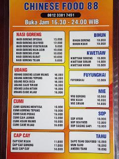 Warung Makan Chinese Food 88 Purwodadi, Enak, Murah dan Halal di Jl. R. Suprapto Kecamatan Purwodadi, Kabupaten Grobogan.