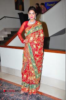Model Sharon Fernandes Stills in Red Saree at Trendz Exhibition Launch  0052.JPG