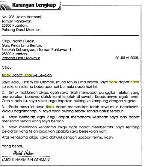 Contoh Karangan Surat Kiriman Tidak Rasmi - Contoh 36