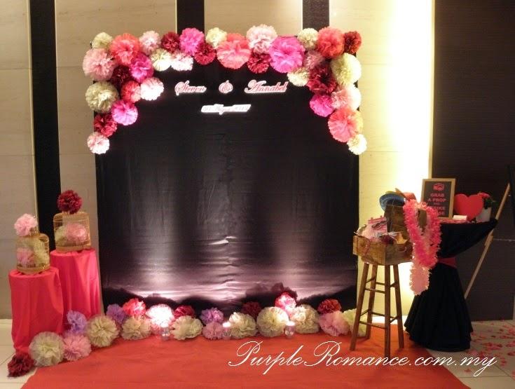floral tissue flower wedding decoration holiday inn glenmarie ballroom subang purple romance. Black Bedroom Furniture Sets. Home Design Ideas