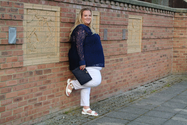 Gemma Collins Collection Azure Navy Shirt With Flattering Lace Sleeves WhatLauraLoves Blogger Review