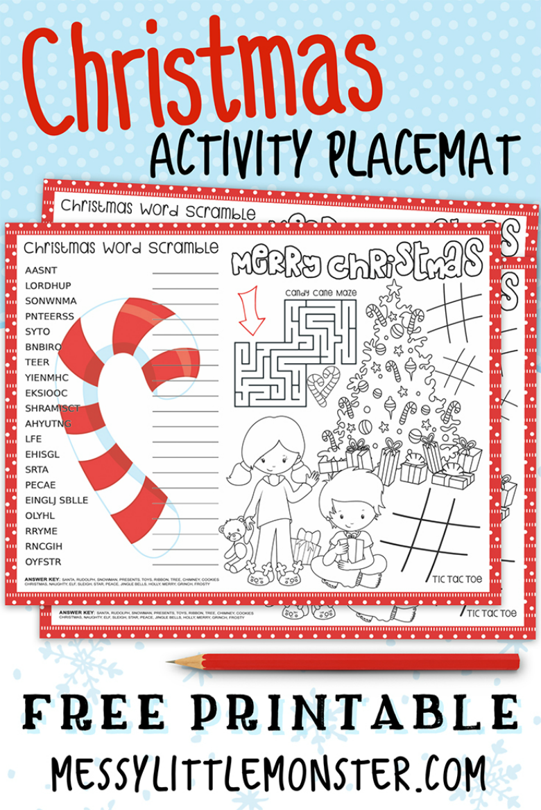 Printable Christmas Placemats. Christmas activity placemats for kids of all ages to enjoy