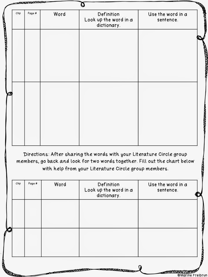 Literature Circle Printables Tales From A Very Busy Teacher