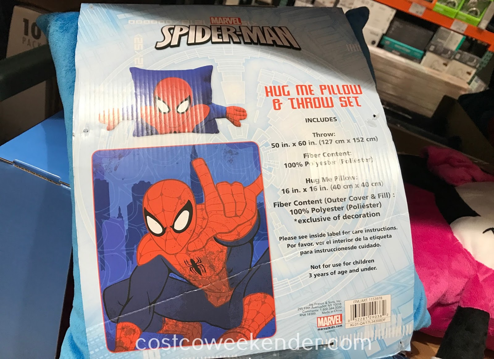 Costco 1153978 - Jay Franco and Sons Hug Me Pillow and Throw Set with Mickey, Minnie, Spiderman, and even Paw Patrol