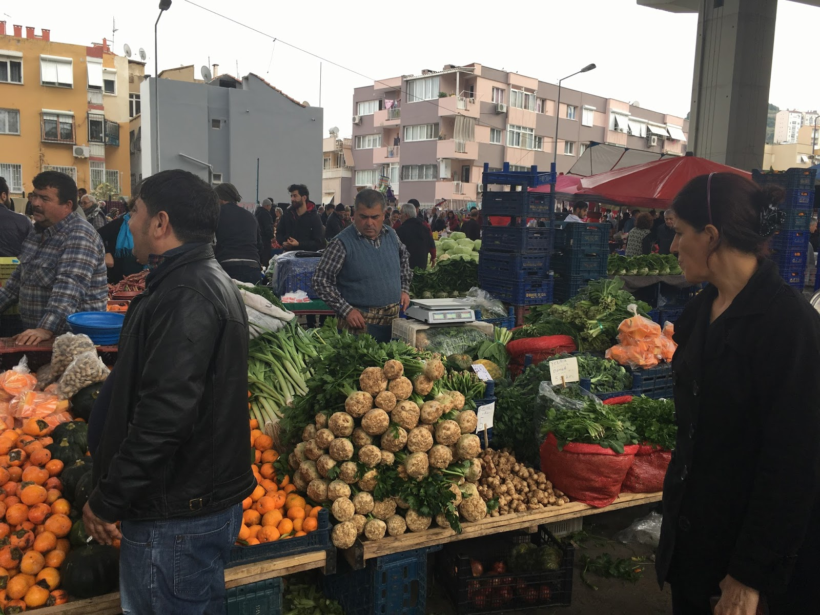 LeeZe visits Izmir Sunday farmer's market. Here the celery root is highly prized and not the stalks.