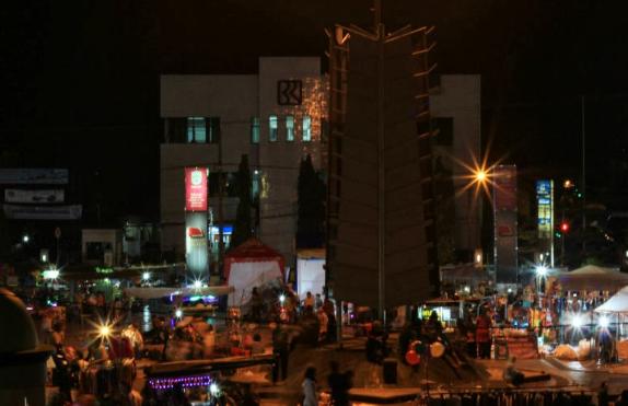 Alun-alun Kota Banjar saat malam hari