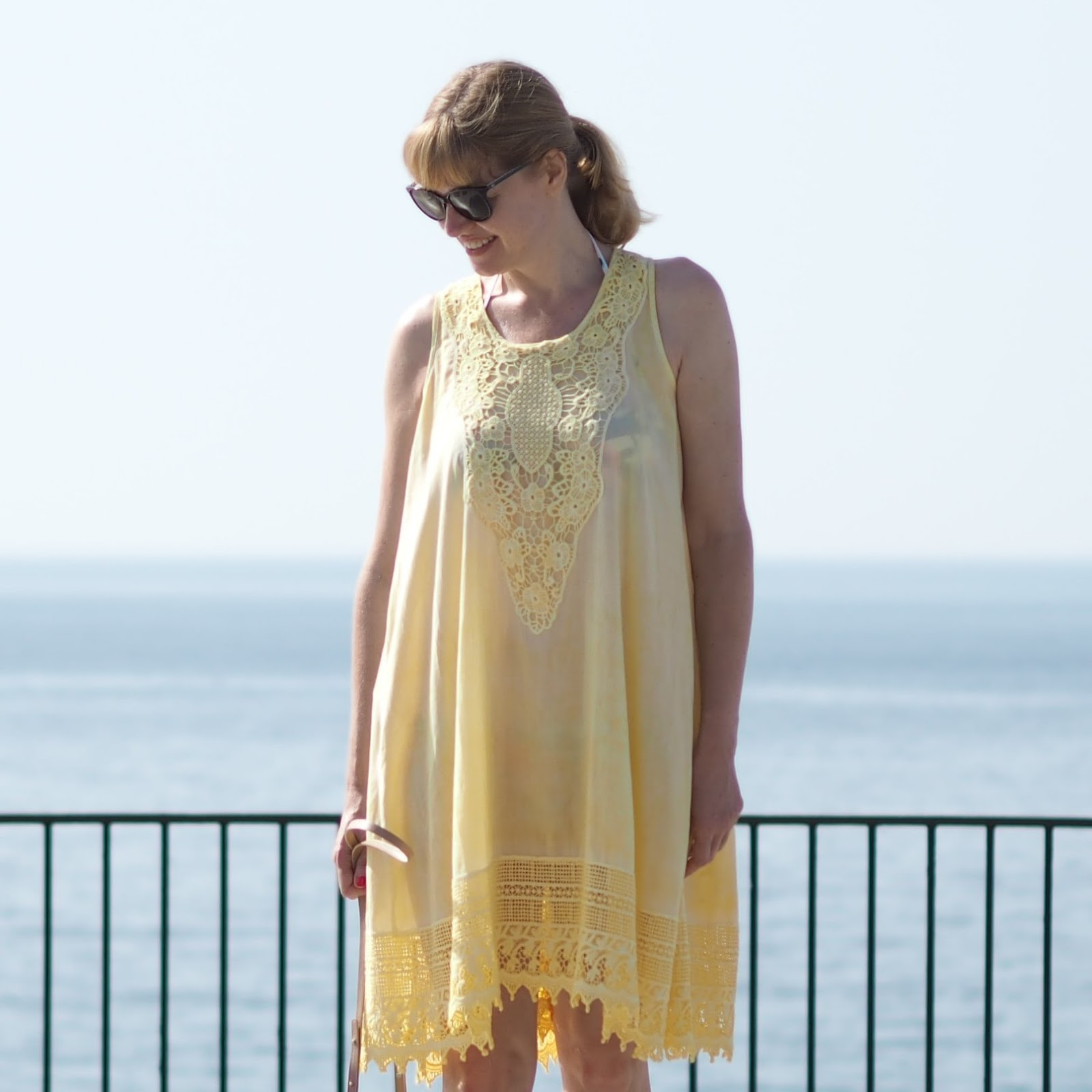 Floral bikini and yellow lace beach cover-up dress, El Balcon de Europa, Nerja