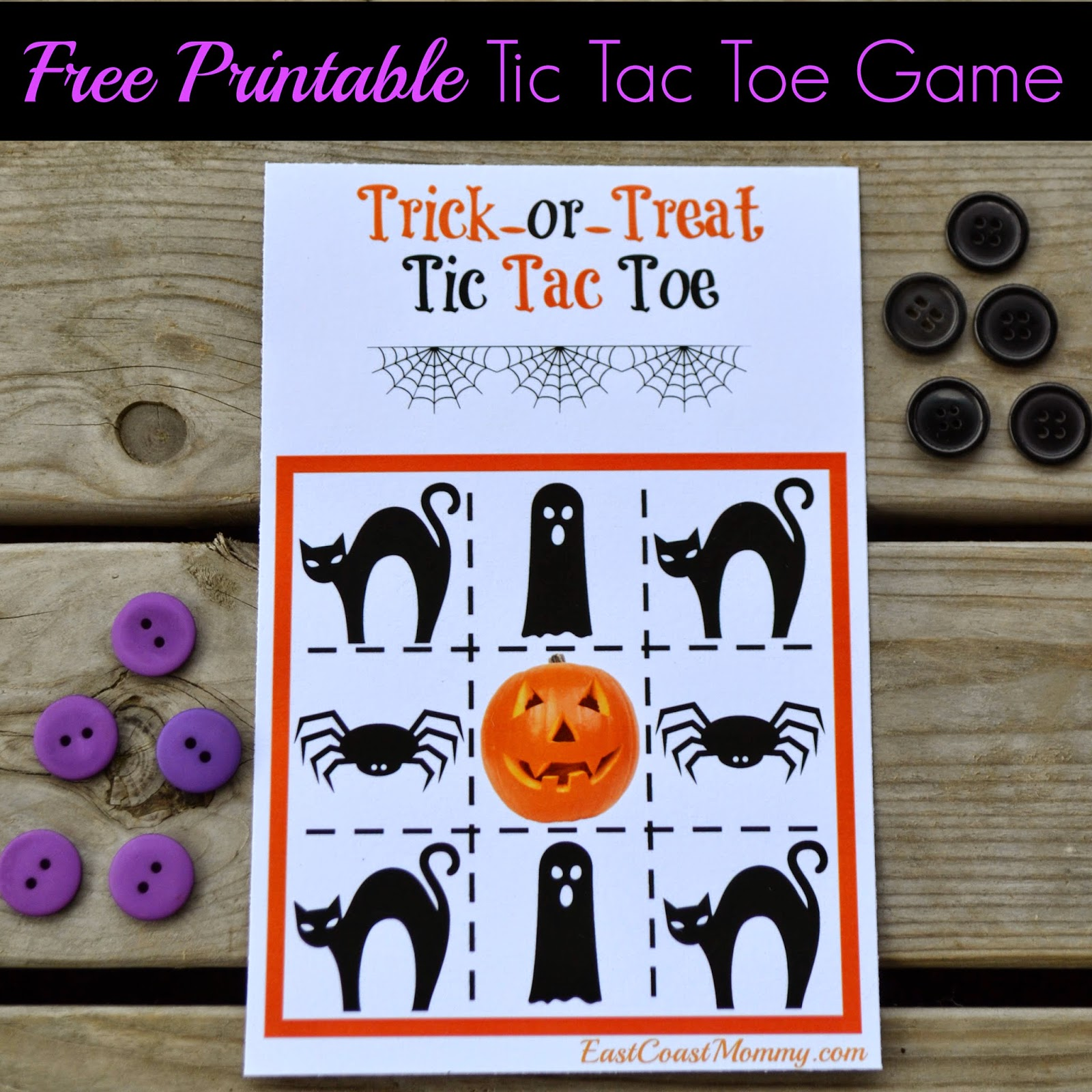 East Coast Mommy Printable Halloween Tic Tac Toe Candy