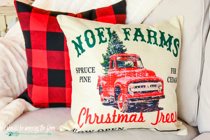 Christmas Tree Truck Pillow
