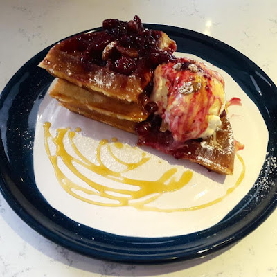 Mixed Berry Compote Waffles with Ice Cream Atlas Coffeehouse