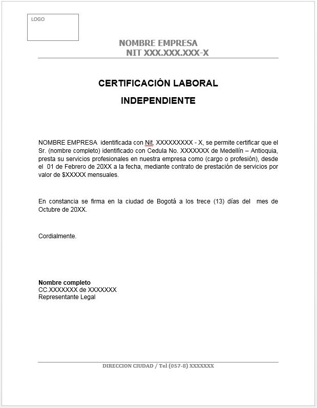 PENSAMIENTO CONTABLE Modelo certificación laboral trabajador