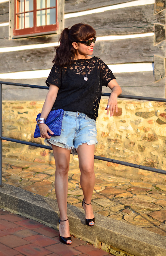 How to dress up cutoff denim shorts