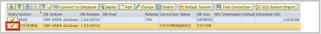 System added in ABAP COCKPIT for SAP HANA backup
