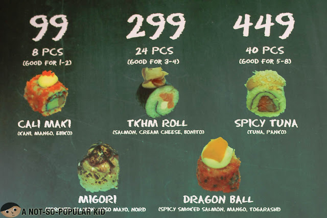 Prices of Ta Ke Ho Me Sushi