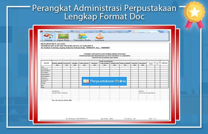 Perangkat Administrasi Perpustakaan Lengkap Format Doc