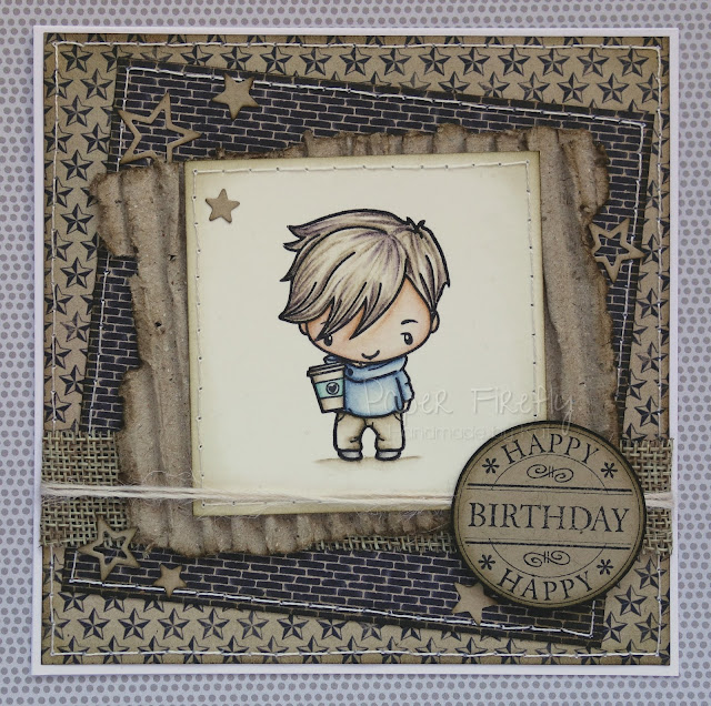 Distressed masculine birthday card featuring boy with coffee cup (image is Mini Remix Brewtiful by The Greeting Farm)