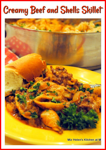 Creamy Beef and Shells Skillet at Miz Helen's Country Cottage