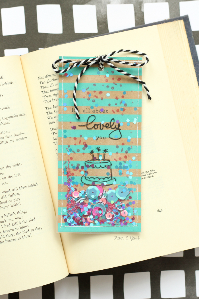 Handmade Shaker Bookmarks: Make a shaker card that doubles as a bookmark.  The perfect piece of snail mail to brighten a friend's day! pitterandglink.com