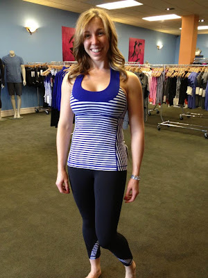 lululemon pigment blue striped scoop neck tank