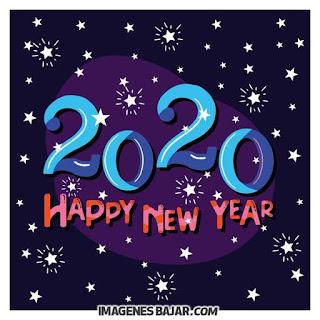 happy new year 2020 tarjeta en colores con estrellas