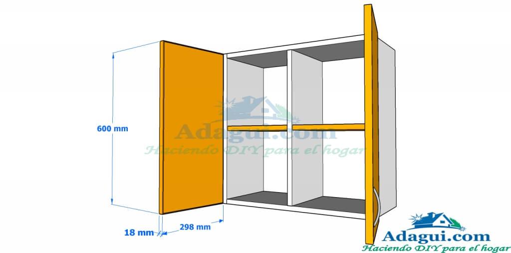 Plano y dise o con medidas mueble alto de cocina melamina for Planos de melamina