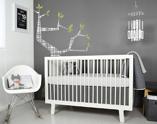 cuarto bebé gris y blanco