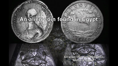 An alien coin and Medallion found in Egypt.
