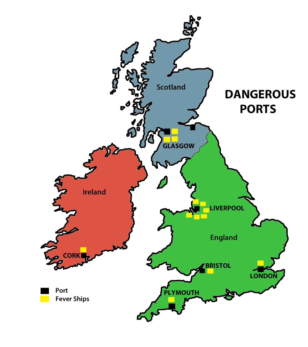 map 8 dangerous ports a simple depiction of the number of fever ships that departed from each british port for port phillip 1839 1845