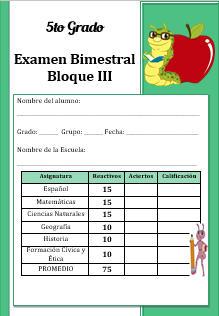 Examen del Bloque 3 Ciclo escolar 2016-2017 Quinto grado