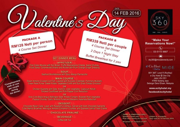 Valentine's Promotion @ SKY 360° @ One City, Subang Jaya
