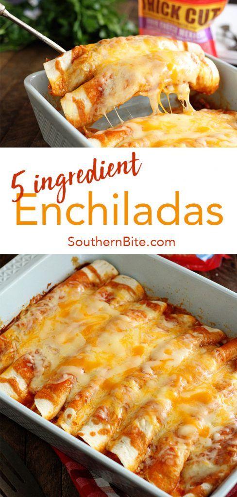 5 Ingredient Beef Enchiladas #beef #enchiladas #dinner #dinnerrecipes #dinnerideas